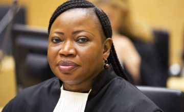 epa04220321 A handout picture released by the ICC shows Chief Prosecutor Fatou Bensouda, during the trial against former Congolese militia leader Germain Katanga (not pictured) at the International Criminal Court (ICC) in the Hague, the Netherlands, 23 May 2014. The ICC sentenced former Congolese militia leader Germain Katanga to 12 years in jail for his role in war crimes related to the massacre of several hundred civilians from the Hema ethnic group in 2003 during the conflict in the Democratic Republic of Congo.  EPA/ICC / HANDOUT  HANDOUT EDITORIAL USE ONLY/NO SALES